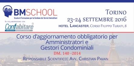 Corso di aggiornamento obbligatorio per Amministratori e Gestori Condominiali: 23 e 24 settembre