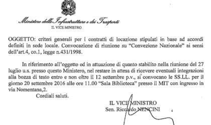 """20 settembre 2016, Roma: convocazione di riunione su """"Convenzione nazionale"""" ai sensi dell'Art. 4 comma 1 legge 431/1998"""