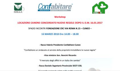 Workshop Cuneo – Locazione canone concordato nuove regole dopo il d.m. 16.01.2017