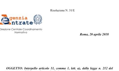 Agenzia delle Entrate Risoluzione n. 31 E del 20/04/2018